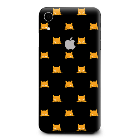 Sneaky Cat Kitten Pattern Gold On Black Apple iPhone XR Skin