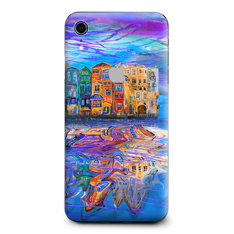Colorful Oil Painting Water Reflection Town Homes Apple iPhone XR Skin
