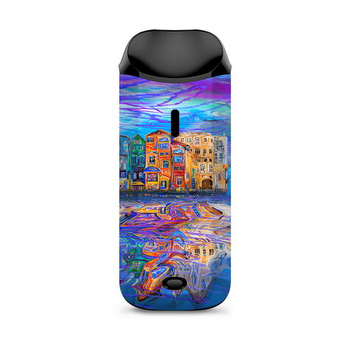 Colorful Oil Painting Water Reflection Town Homes Vaporesso Nexus AIO Kit Skin