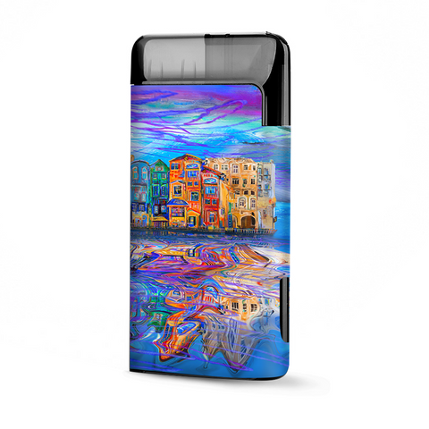 Colorful Oil Painting Water Reflection Town Homes
