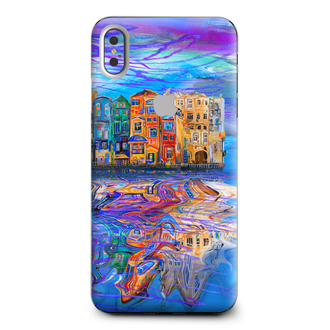 Colorful Oil Painting Water Reflection Town Homes Apple iPhone XS Max Skin