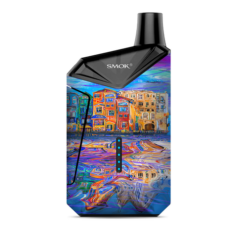 Colorful Oil Painting Water Reflection Town Homes Smok  X-Force AIO Kit  Skin