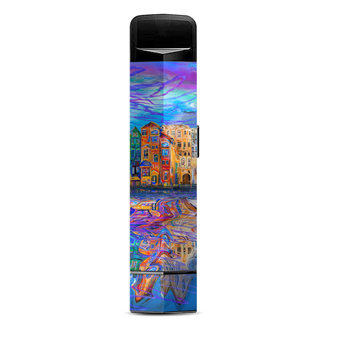 Colorful Oil Painting Water Reflection Town Homes Suorin Edge Pod System Skin