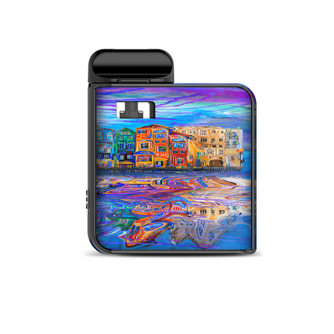 Colorful Oil Painting Water Reflection Town Homes Smok Mico Kit Skin