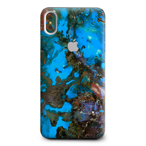 Stab Wood Oil Paint Blue Green Orange Apple iPhone XS Max Skin