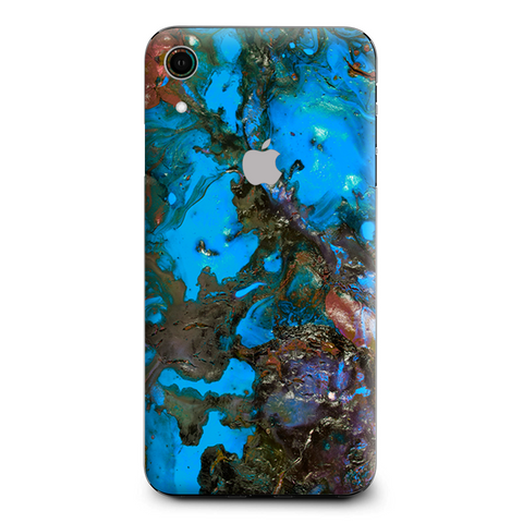 Stab Wood Oil Paint Blue Green Orange Apple iPhone XR Skin