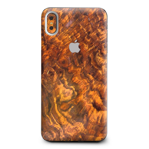 Orange Burnt Burl Wood Aged Apple iPhone XS Max Skin