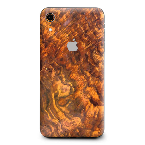 Orange Burnt Burl Wood Aged Apple iPhone XR Skin
