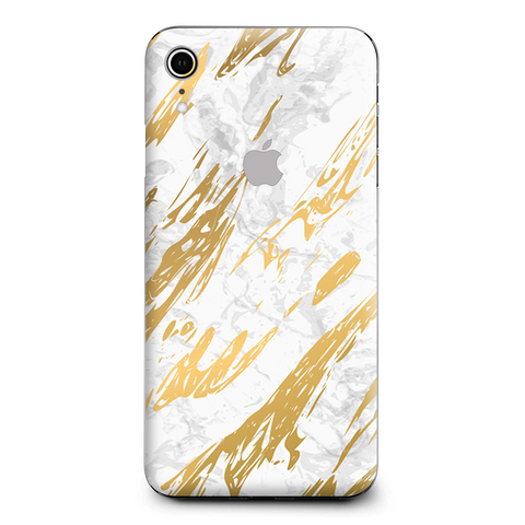 Gold Marble White Granite Stone Slate Apple iPhone XR Skin