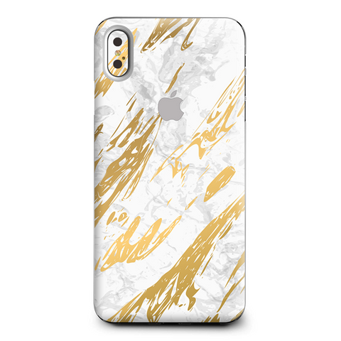 Gold Marble White Granite Stone Slate Apple iPhone XS Max Skin