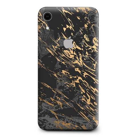 Gold Marble Dark Gray Background Apple iPhone XR Skin