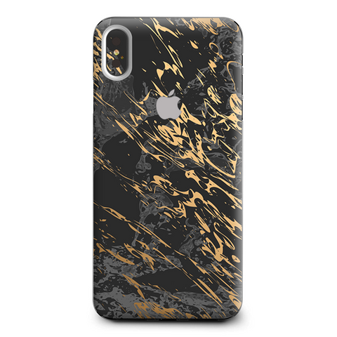 Gold Marble Dark Gray Background Apple iPhone XS Max Skin
