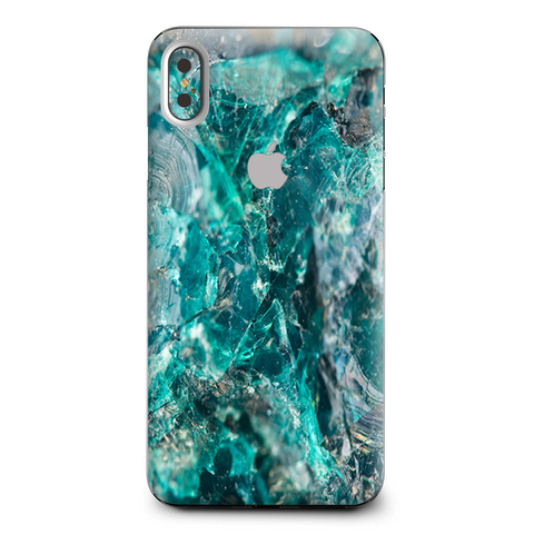 Chrysocolla Hydrated Copper Glass Teal Blue Apple iPhone XS Max Skin