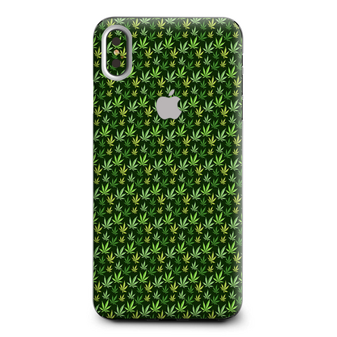 Pot Leaves Small Green Stoner Apple iPhone XS Max Skin