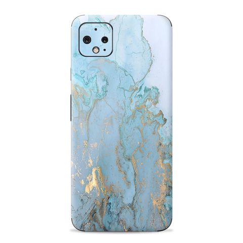 Teal Blue Gold White Marble Granite