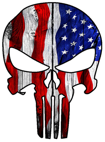 "Punisher Skull Military American Flag Us Sticker Decal Large 8"" Sticker"