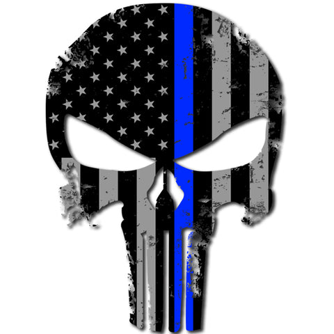 "Punisher Skull Police Blue Line Sticker Flag Blue Lives Matter Large 8"" Sticker"