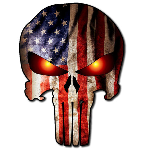 "Punisher Skull Military American Flag Eyes Glow Burning Sticker Decal Large 8"" Sticker"