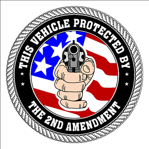 "Vehicle Protected By 2Nd Amendment Sticker Decal America Large 8"" Sticker"