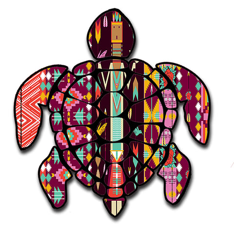 "Sea Turtle Aztec Pattern Hawaii Turtle Sticker Large 8"" Sticker"