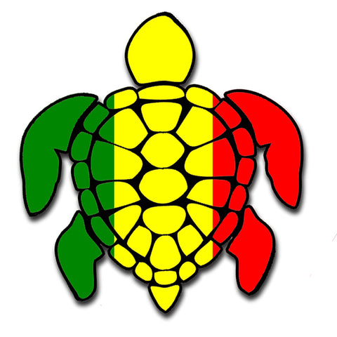 Sea Turtle Rasta Irie Reggae Design Red Yellow Green Hawaii Turtle Sticker Sticker