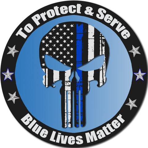 "Protect And Serve Blue Lives Matter Sticker Decal Punisher Skull Flag Large 8"" Sticker"