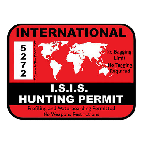 "Isis Hunting Permit International Permit Sticker America Badass Large 8"" Sticker"
