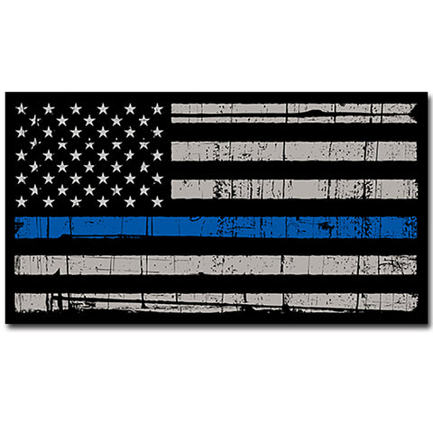"Thin Blue Line Police Distressed  Flag Sticker Blue Lives Matter Large 8"" Sticker"