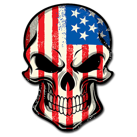 "American Flag Skull Head Military Sticker Decal Badass America Murica Large 8"" Sticker"