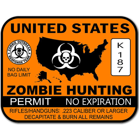 "U.S. Zombie Hunting Permit Sticker Zombies Apocalypse Dead Large 8"" Sticker"