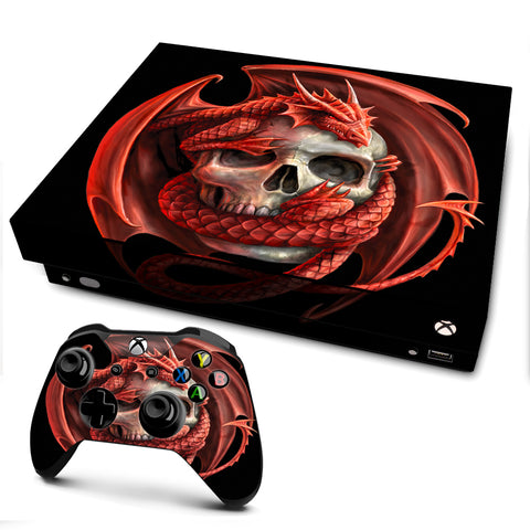 Anne Stokes Skull Embrace | Skin Decal Vinyl Wrap for xBox One X Console & Controller
