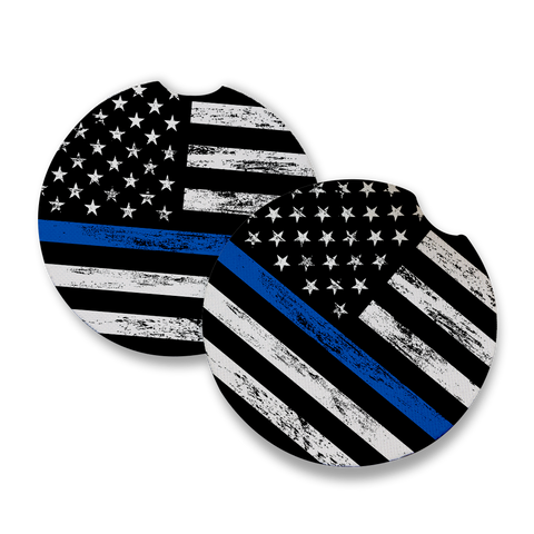 Thin Blue Line Car Coaster