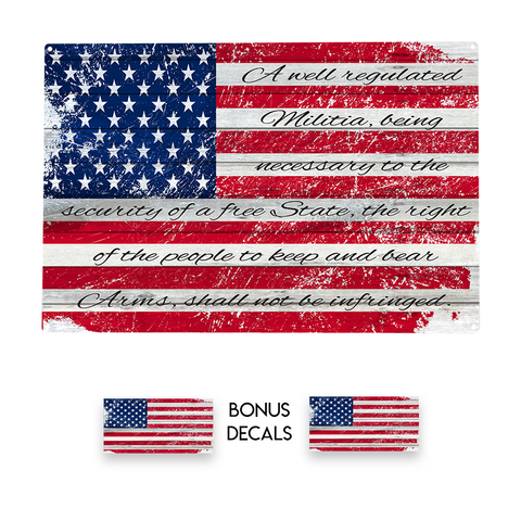 2nd Amendment | Distressed Flag Metal Sign for Garage Man Cave