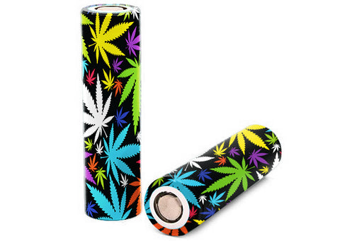 Color Weed Pot Leaf Leaves Gonja Battery Wrap Skin For Your 18650 Vape Batteries 2Xpcs Itsaskin 18650 Battery Wraps Skin