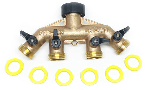 World's Best 4-Way Water Shut Off Valve by the World's Best Brass Hose Nozzles: Solid Brass Hose Splitter Rust and Corrosion Resistant, Connect Multiple Garden Hoses and Sprinklers To Faucet, Outdoor Tap Adapter