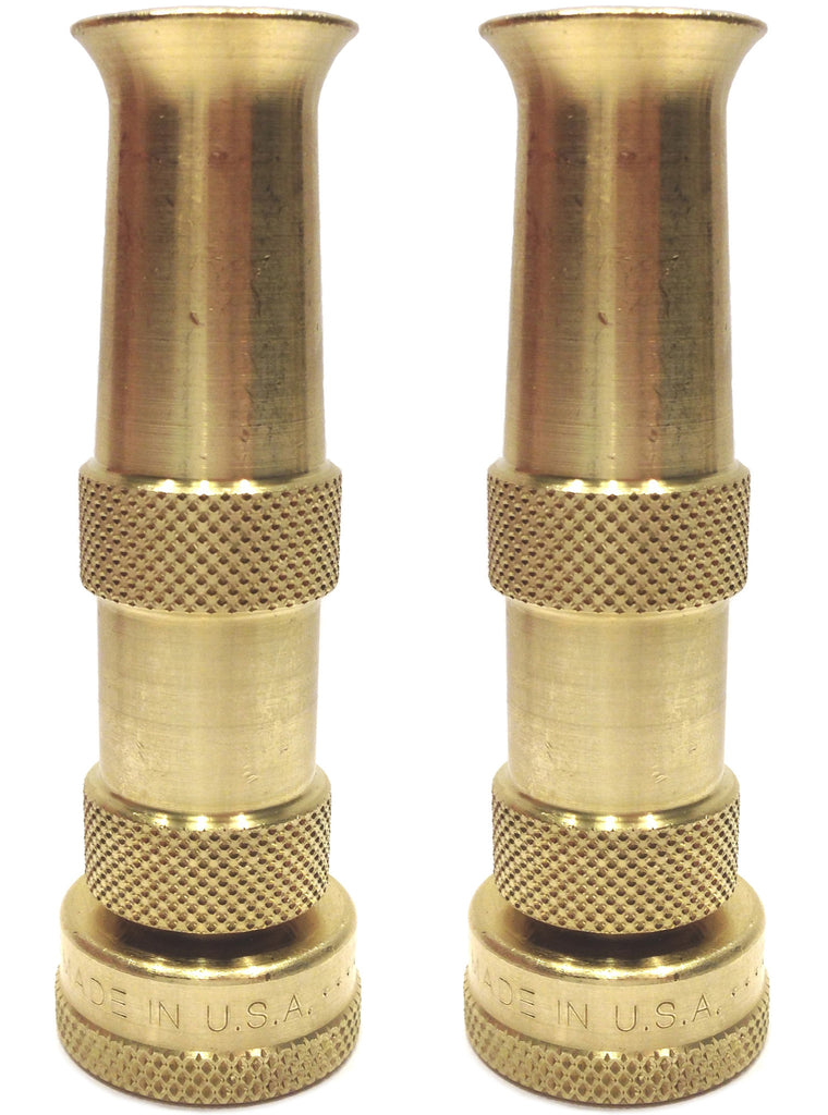 Hose Nozzle High Pressure for Car or Garden - Best Hose Nozzle Made in USA - Solid Brass Fittings - 2 Nozzle Set - Lifetime Guarantee - Adjustable Water Sprayer From Spray to Jet - Heavy Duty - Fits Standard Hoses - With Gardening Secret E-book