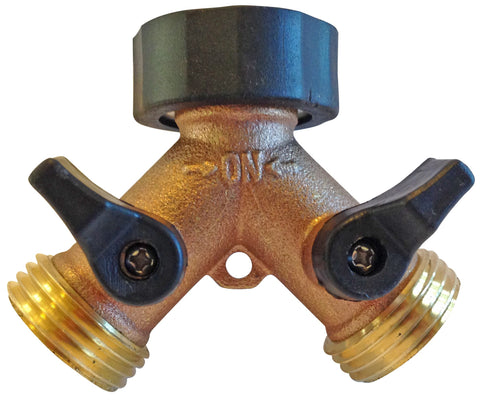 The World's Best 2-Way Garden Hose Y Connector with Shut-Off Valves