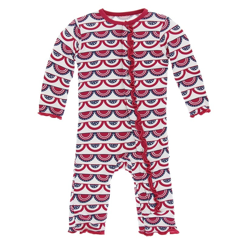 Kickee Pants-- Print Muffin Ruffle Coverall with Snaps