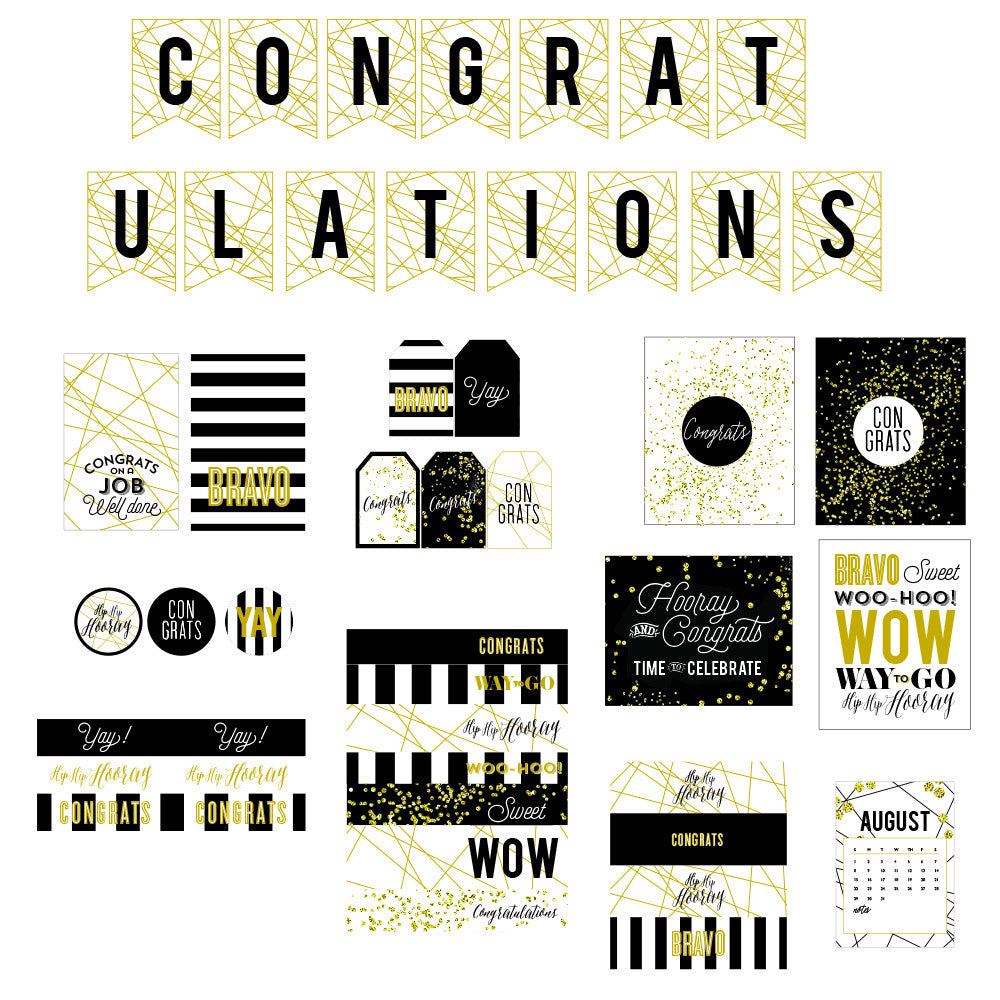 Black, white and gold Congratulations printable collection