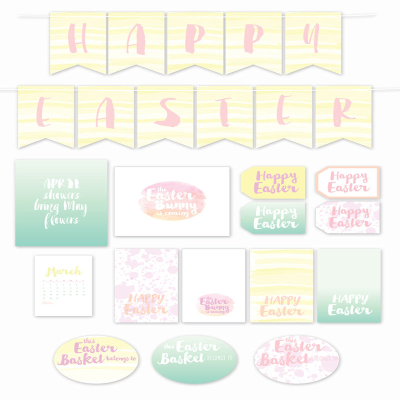 This Easter printable paper collection features feminine watercolor and ombre designs in a pretty pastel yellow, aqua, coral and pink color scheme.