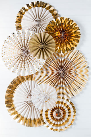 Cream and gold foil paper fans