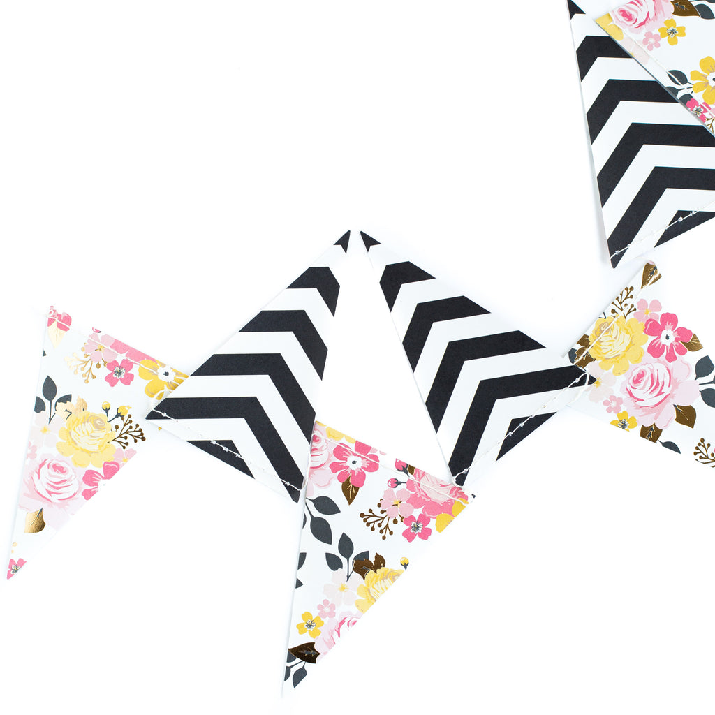 My Story Floral and Stripe Pennant Banner