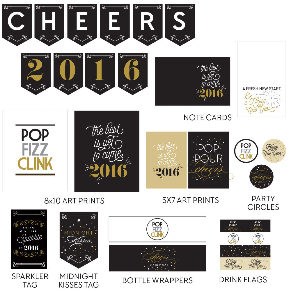 New Year's printable collection - gold & black with an art deco flair