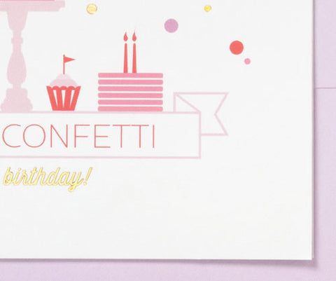 Wishing You Cake & Confetti greeting card - sweet and simple for a sweet birthday girl