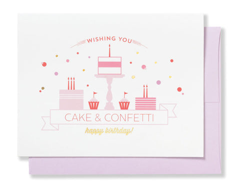 Wishing You Cake & Confetti greeting card - sweet and simple for the birthday girl