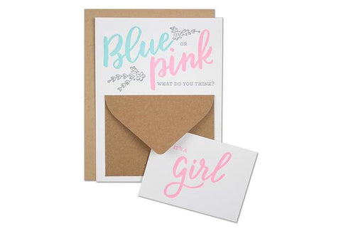Blue or Pink Gender Reveal Card GIRL 6 pack