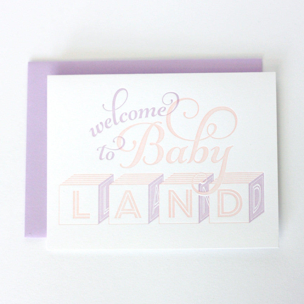 Baby Shower or New Arrival Letterpress Card for a Baby Girl