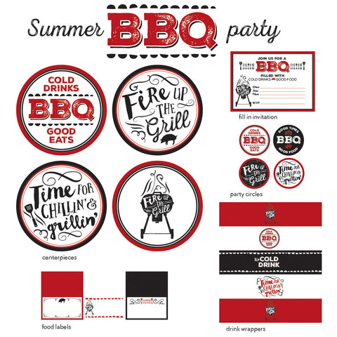 red white and black summer bbq printable collection