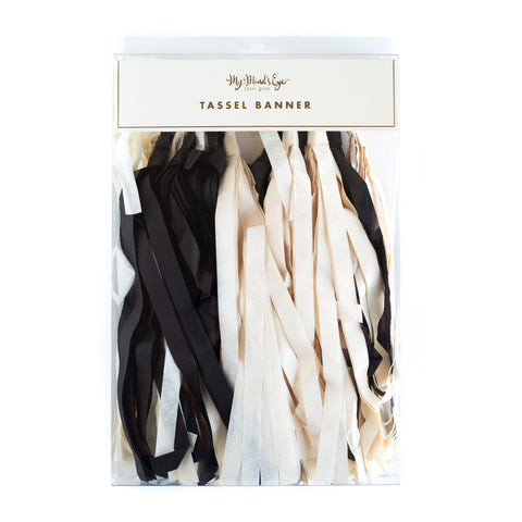 Black and White Tissue Tassel Garland