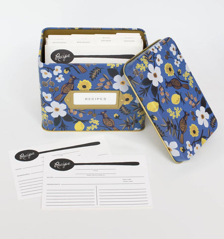Blue Floral Capri Recipe Box from Rifle Paper Co.
